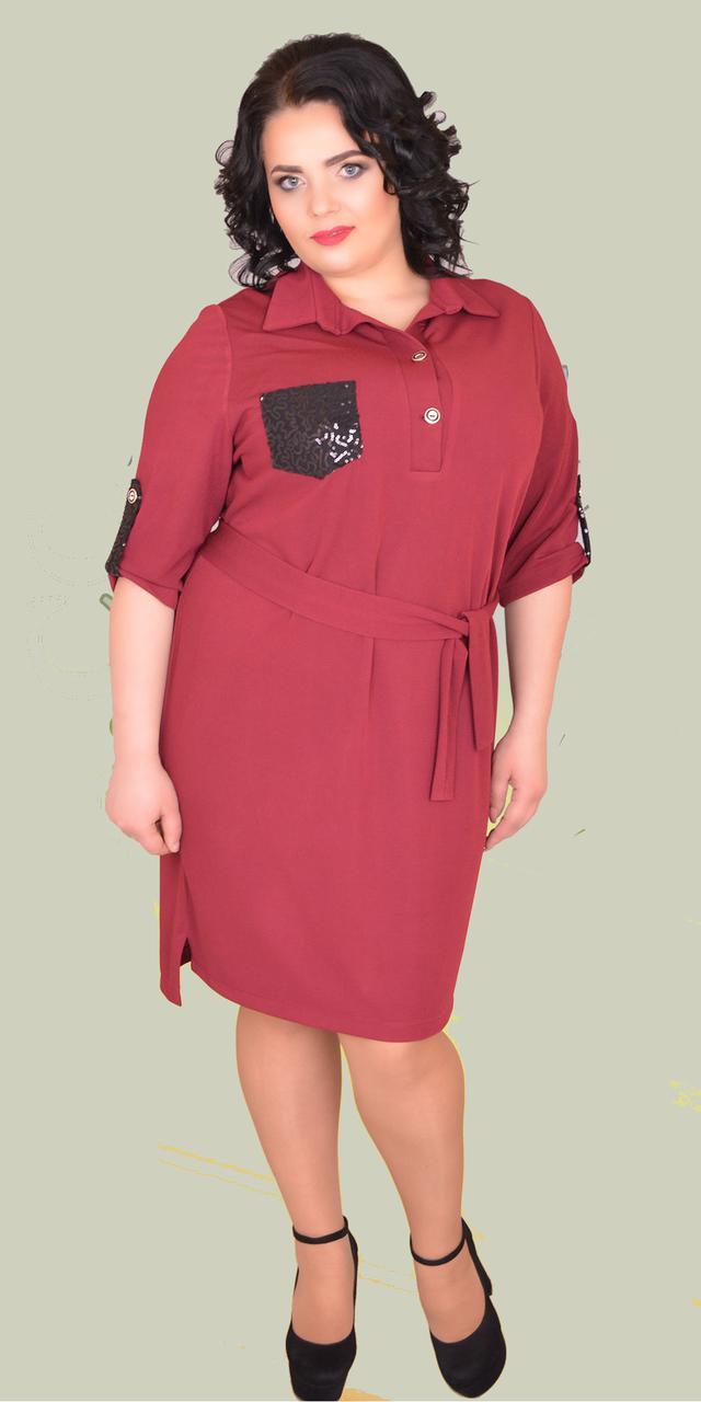 f4dc622efc8bb03 Женское стильное платье, рубашка-платье больших размеров, 54-60, цена 340  грн., купить в Хмельницком — Prom.ua (ID#657644176)