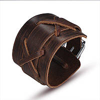 Широкий кожаный браслет коричневый