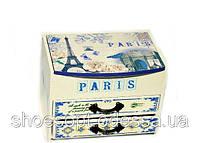 Шкатулка с зеркалом Париж 3-х ярусная Прованс 15х10х11см, фото 1