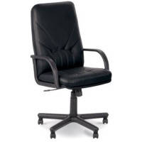 Кресла офисные для руководителей Manager, черный, натур.кожа