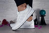 Кроссовки кожаные белые Nike с перфорацией