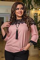 Женская шифоновая блуза с гипюром
