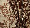 "Двусторонняя коричневая ткань блэкаут ""Нежный завиток"""