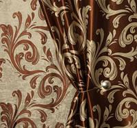 "Двусторонняя коричневая ткань блэкаут ""Нежный завиток"", фото 1"