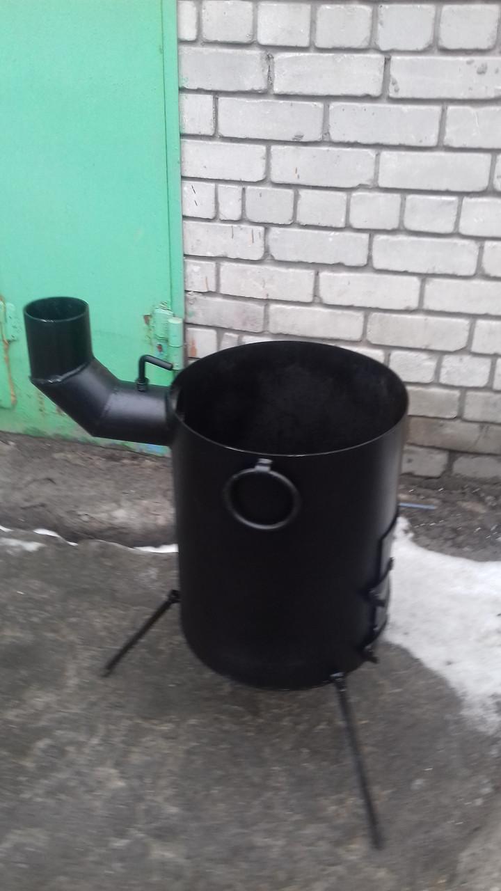Печь сварная под азиатский казан на 8 л. с выходом под дымоход