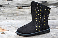 Угги женсике модные молодежные черные с декором искусственный мех (Код: Ш925)