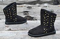 Угги женсике модные молодежные черные с декором искусственный мех Украина (Код: Ш925а)