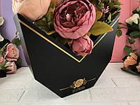 """Коробка для цветов """"Half moon"""" черная"""