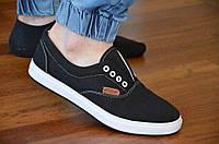 Кеды  vans реплика слипоны мокасины мужские черные текстиль на шнурках стильные (Код: Т1001). Только 41р!