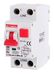 Выключатель дифференциального тока с функцией защиты от сверхтоков e.rcbo.pro.2.B06.30, 1P+N, 6А, B, тип А, 30мА