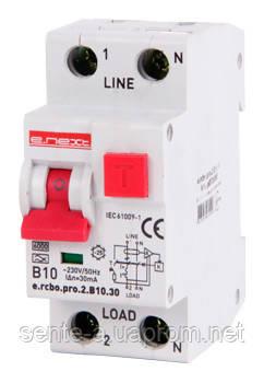 Выключатель дифференциального тока с функцией защиты от сверхтоков e.rcbo.pro.2.B10.30, 1P+N, 10А, B, тип А,