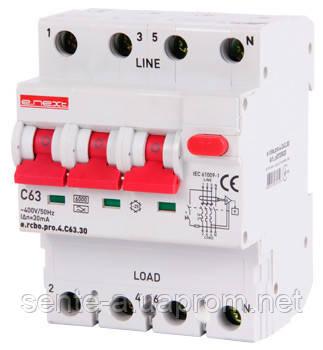 Выключатель дифференциального тока с функцией защиты от сверхтоков e.rcbo.pro.4.С63.30, 3P+N, 63А, С, тип А, 30мА