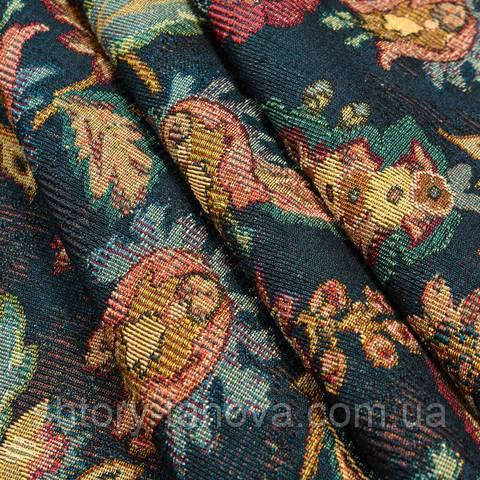 Гобелен ткань, стилизованный цветочный принт