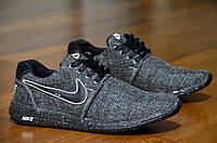 Кроссовки Nike Roshe Run найк мужские реплика темно серые весна лето легкие (Код: Т319)
