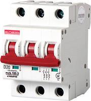 Модульный автоматический выключатель e.industrial.mcb.100.3.D.20, 3р, 20А, D, 10кА