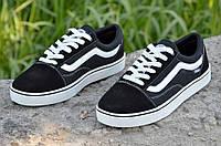 Кеды, кроссовки мужские качественная копия Vans Ванс черные кожа (Код: М806)