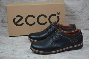 Мужские кожаные туфли Ecco черного цвета (541-2) БЕСПЛАТНАЯ ДОСТАВКА !!!