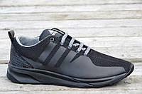 Кроссовки Adidas реплика  сетка черные мужские удобные весна лето (Код: Т516а)