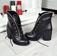 Женские стильные черные ботинки кожа  Violla на шнуровке
