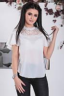 Белая Блузка с прозрачной кокеткой, фото 1
