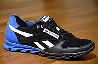 Кроссовки натуральная кожа, замша Reebok реплика  мужские  черные с синим Харьков (Код: Т316а)