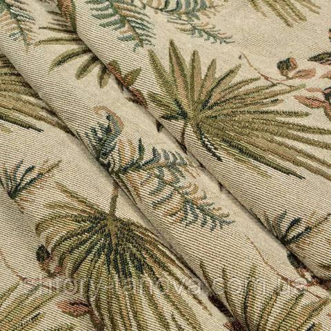 Гобелен ткань, гербарий листьев, оливково-зелёный