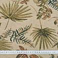 Гобелен ткань, гербарий листьев, оливково-зелёный, фото 3