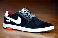 Кроссовки кеды слипоны натуральная кожа, замша Nike найк мужские удобные реплика черные (Код: М348а)