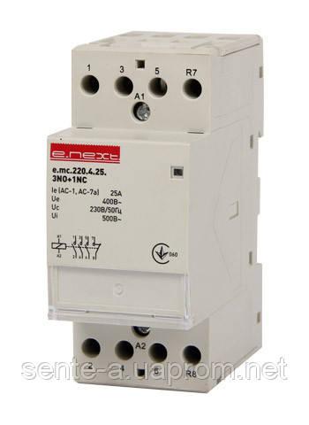 Модульный контактор e.mc.220.4.25.3NO+1NC, 4р, 25А, 3NO+1NC, 220 В