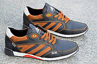 Кроссовки мужские натуральная кожа adidas реплика  черные с коричневым Харьков (Код: М440)