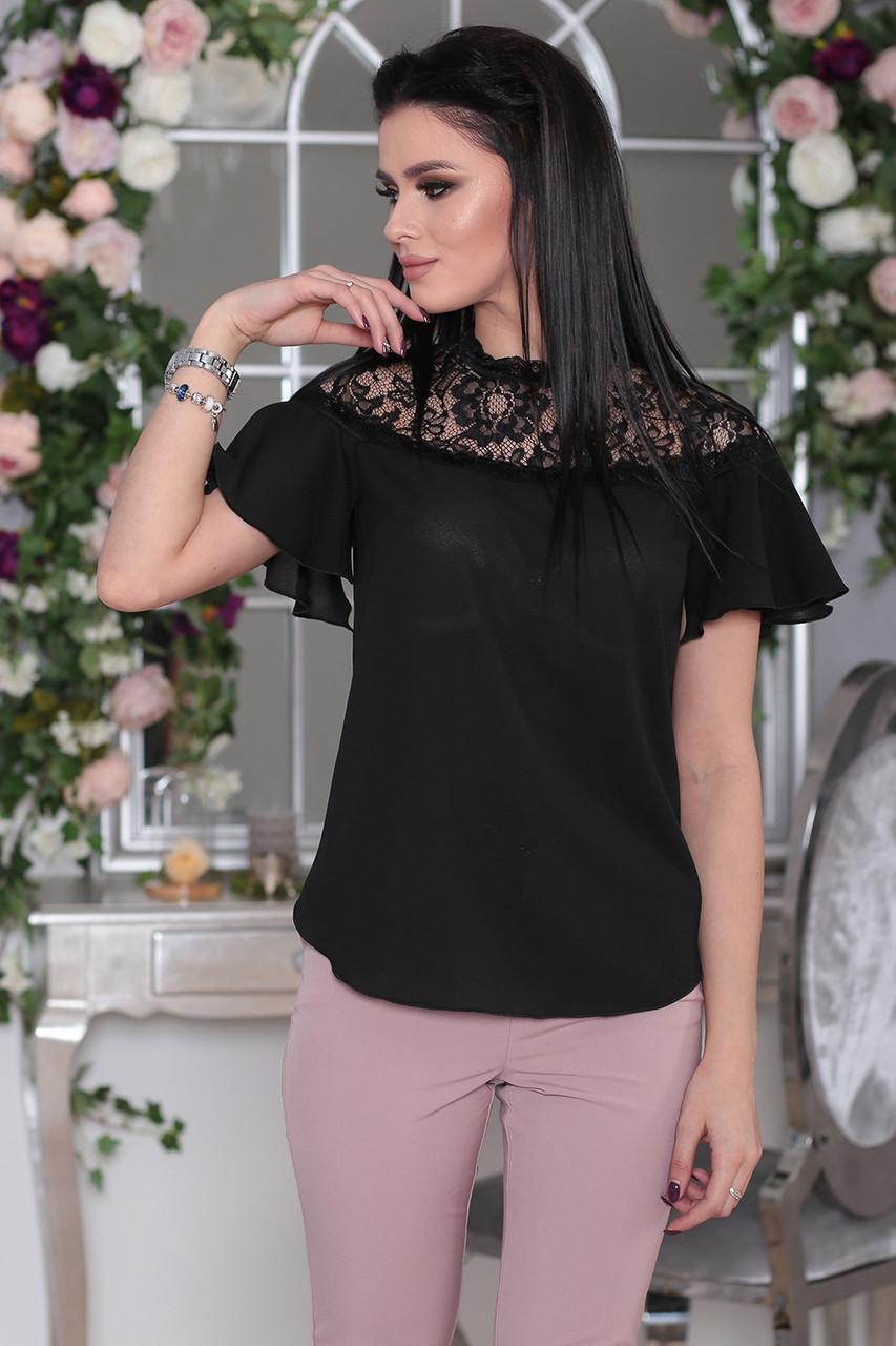 Черная Блузка с прозрачной кокеткой
