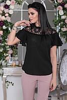 Черная Блузка с прозрачной кокеткой, фото 1