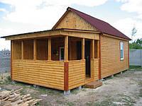 Дачный домик 6х4 с открытой верандой. Зимний.