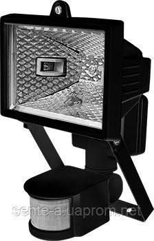 Прожектор галогенный e.halogen.move.150.black 150Вт, черный  с датчиком на движение