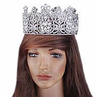 Круглая корона под серебро,  диадема, тиара, высота 9 см.