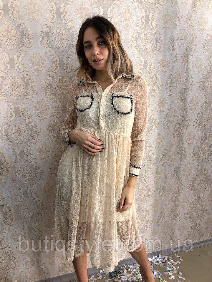 Красивое женское платье органза с аппликацией и карманами белое, беж