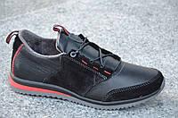 Спортивные туфли, кроссовки натуральная кожа, замша черные мужские (Код: М511а)