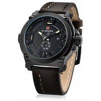 NAVIFORCE 9099 Модные мужские кварцевые часы наручные PU кожаный ремешок для часов