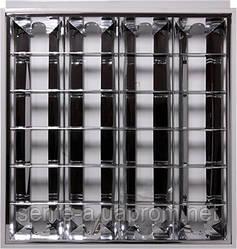 Светильник люминесцентный растровый встроенного типа  e.lum.raster.flush.4.20.b.al 4х20W, спаренная ПРА, матовый