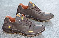 Кроссовки кожаные мужские  New Balance коричневые (Код: Т512)