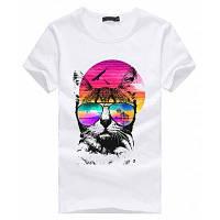 3D красочные шаблон короткие рукава футболки для мужчин L