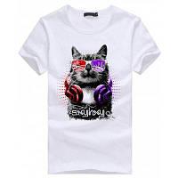 Кот шаблон с коротким рукавом футболки для мужчин XL