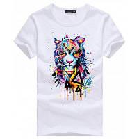 3D Тигр шаблон с коротким рукавом футболки для мужчин L