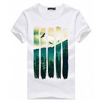 Мужская модная повседневная футболка с круглым воротником и короткими рукавами с 3D печатью горного пейзажа мужская одежда L
