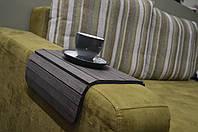 """Деревянная накладка-столик на подлокотник дивана (""""Графит"""") #2i2ua"""