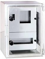 Шкаф ударопрочный из АБС-пластика e.plbox.300.400.165.1f.15m.tr, 300х400х165мм, IP65 с прозрачной дверцей, панелью под 1 - фазный счетчик и 15 модули