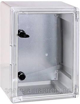 Шафа ударостійкий з АБС-пластику e.plbox.300.400.195.tr, 300х400х195мм, IP65 з прозорою дверцятами