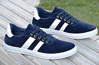 Кеды, кроссовки мужские темно синие синтетическая замша мягкие Китай (Код: Т825)