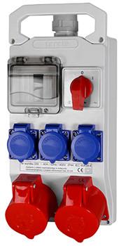 Монтажний набір - вікно 4 мод, викл. 0-1, 2x16A 3P + N + Z 400V, 3x16A 2P + Z 250V