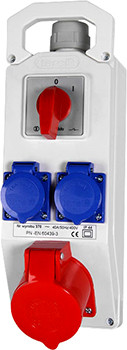 Монтажный набор выкл. 0-1 32А 3Р + N + Z 400V, 2x16 2P + Z 250V